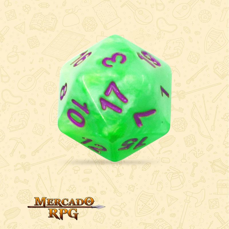 Dado de RPG - D20 Green Pearl Dice Purple Font - Vinte Lados - Mercado RPG