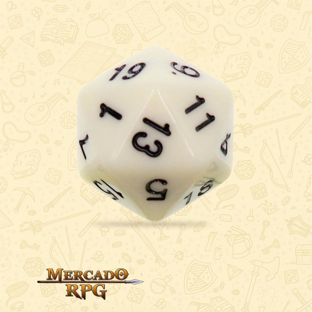 Dado de RPG - D20 Ivory Opaque Dice - Vinte Lados - Mercado RPG