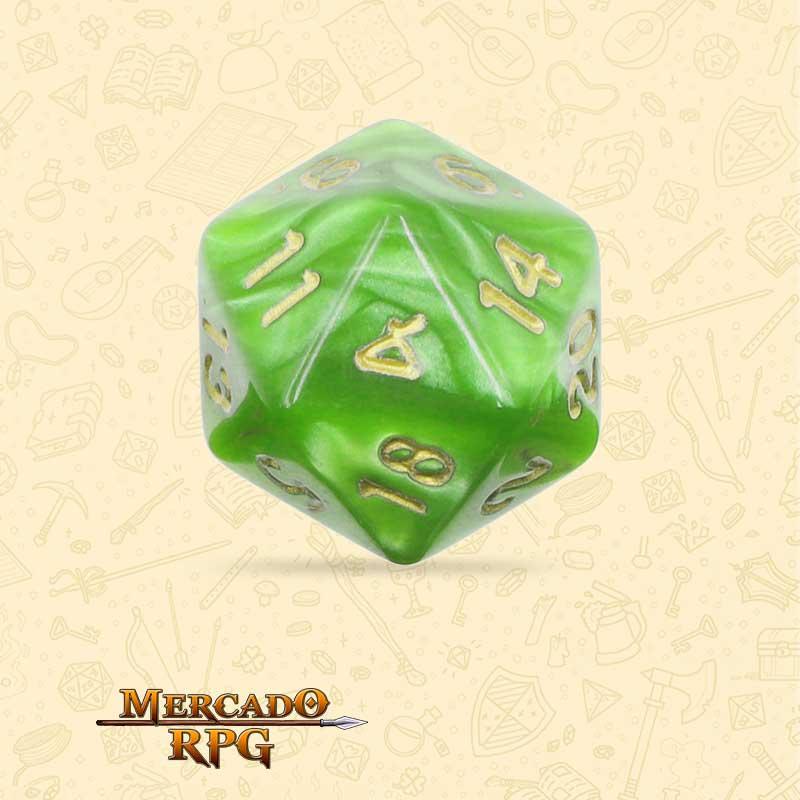 Dado de RPG - D20 Light Green Pearl Dice Golden Font - Vinte Lados - Mercado RPG