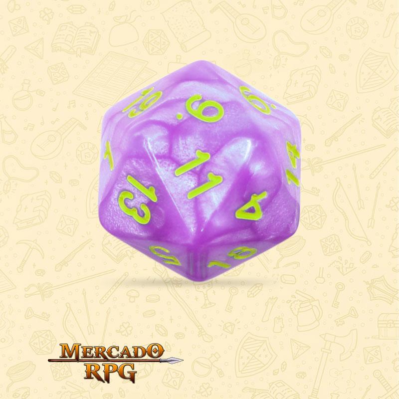 Dado de RPG - D20 Light Purple Dice Green Font - Vinte Lados - Mercado RPG