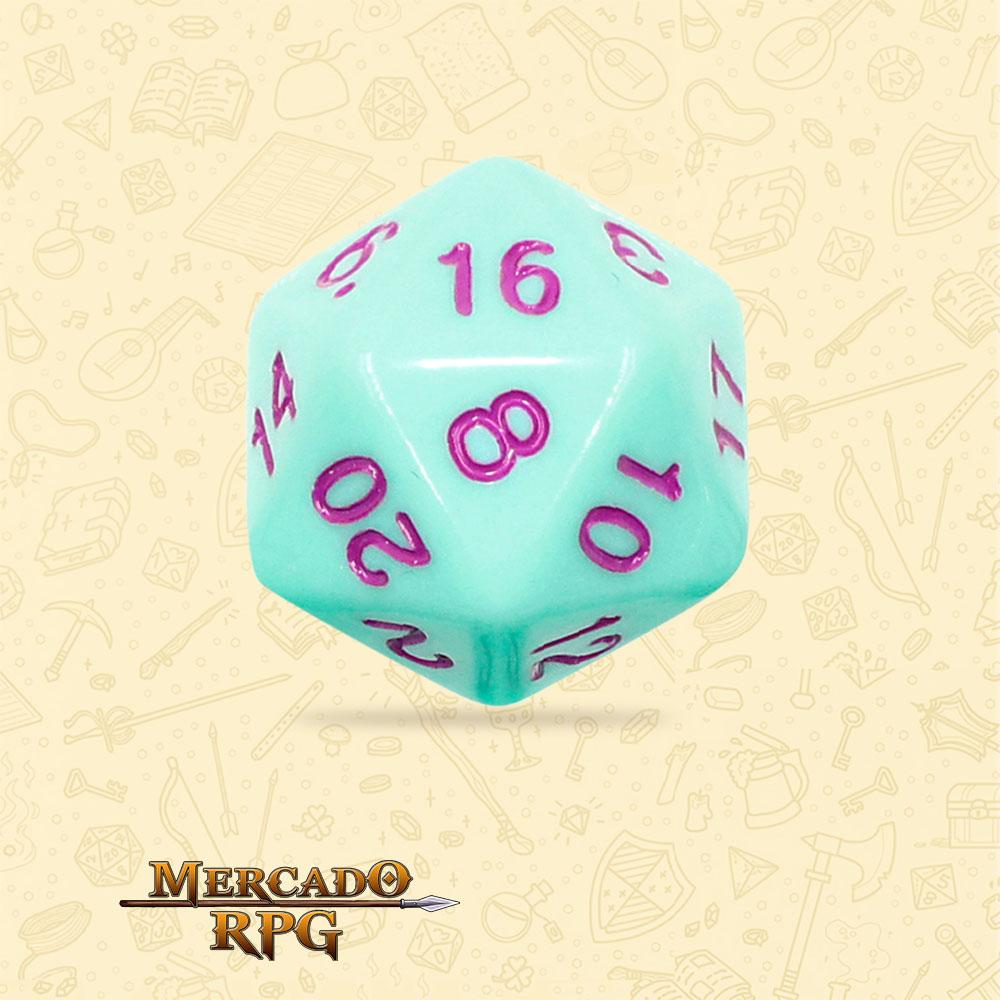 Dado de RPG - D20 Mint Rose Opaque Dice Purple Font - Vinte Lados - Mercado RPG