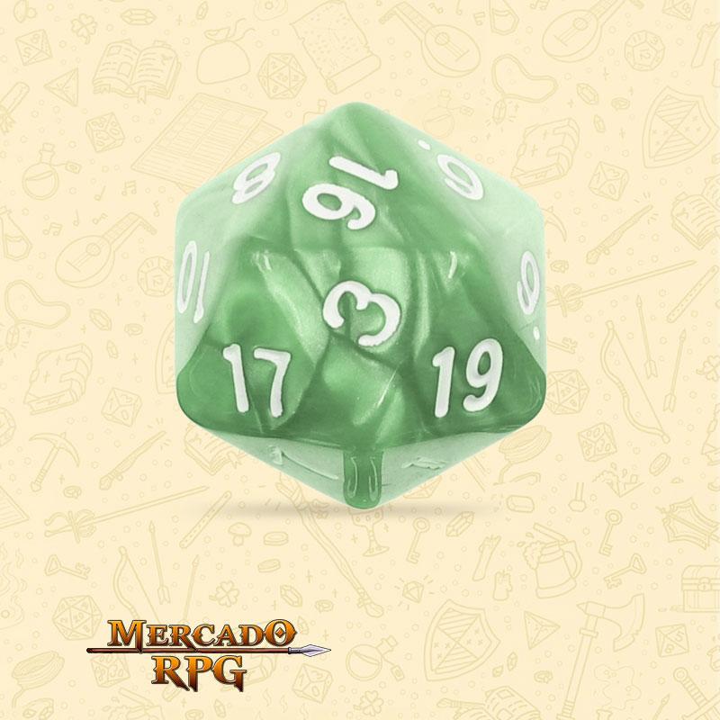 Dado de RPG - D20  Pale Green Pearl Dice - Vinte Lados - Mercado RPG