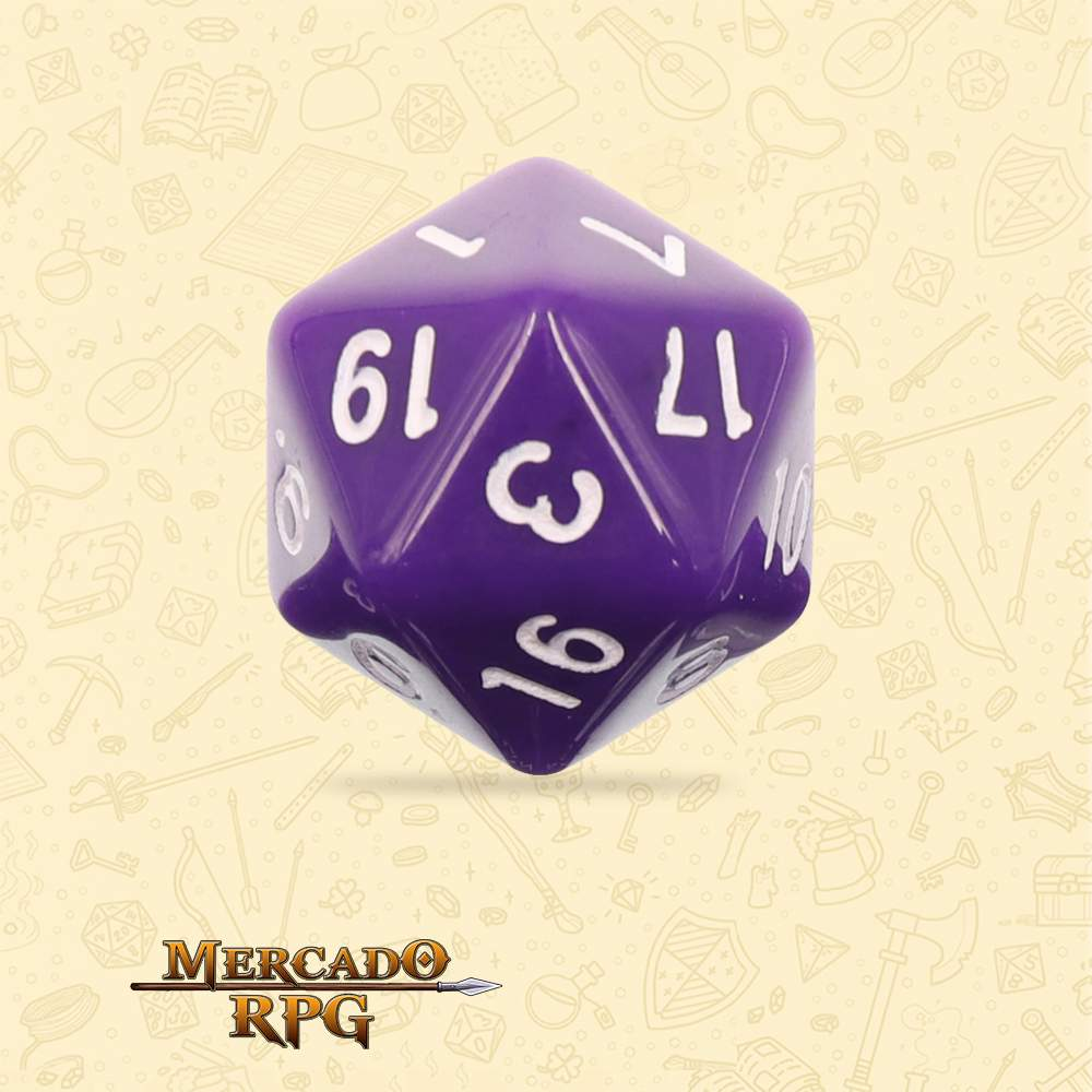 Dado de RPG - D20 Purple Opaque Dice - Vinte Lados - Mercado RPG