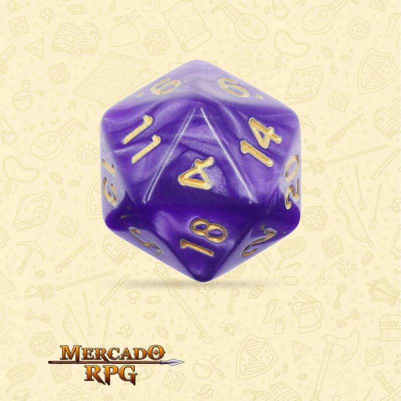 Dado de RPG - D20 Purple Pearl Dice Golden Font - Vinte Lados - Mercado RPG