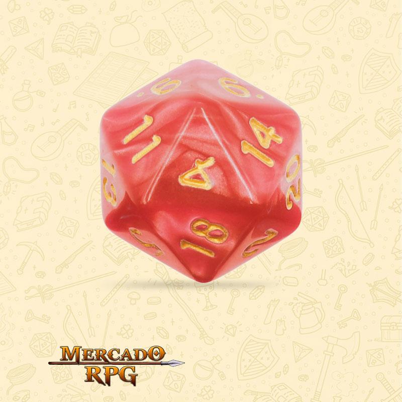 Dado de RPG - D20 Red Pearl Dice Golden Font - Vinte Lados - Mercado RPG