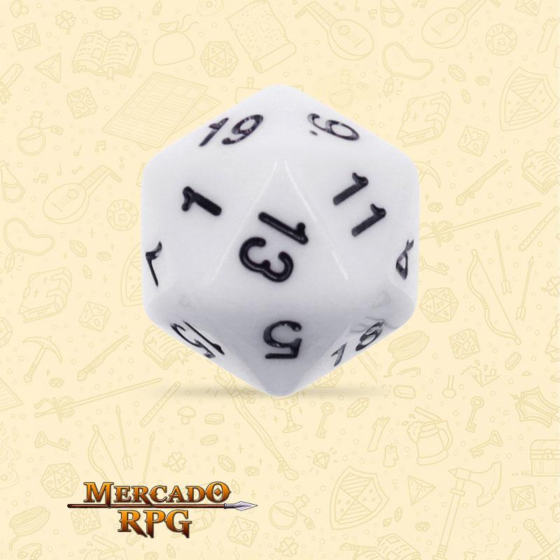 Dado de RPG - D20 White Opaque Dice - Vinte Lados - Mercado RPG