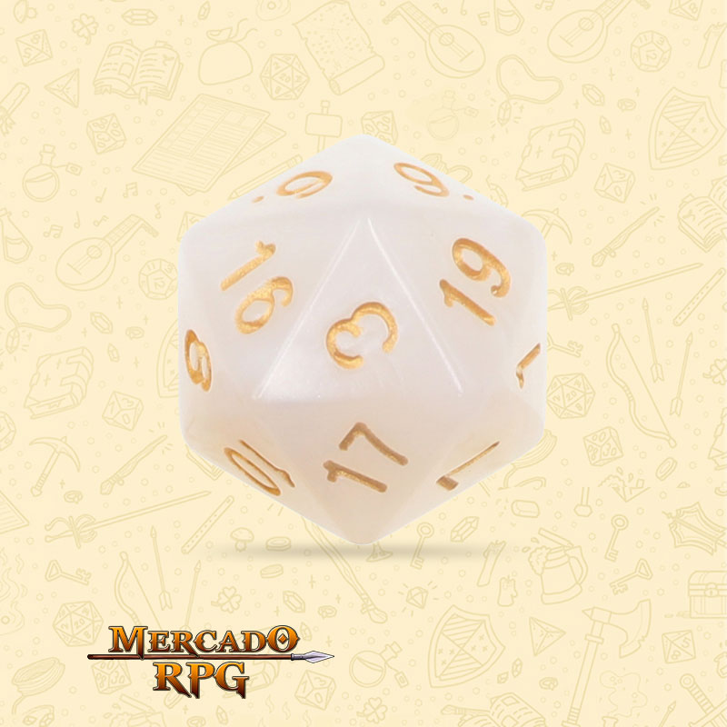 Dado de RPG - D20 White Pearl Dice - Vinte Lados - Mercado RPG