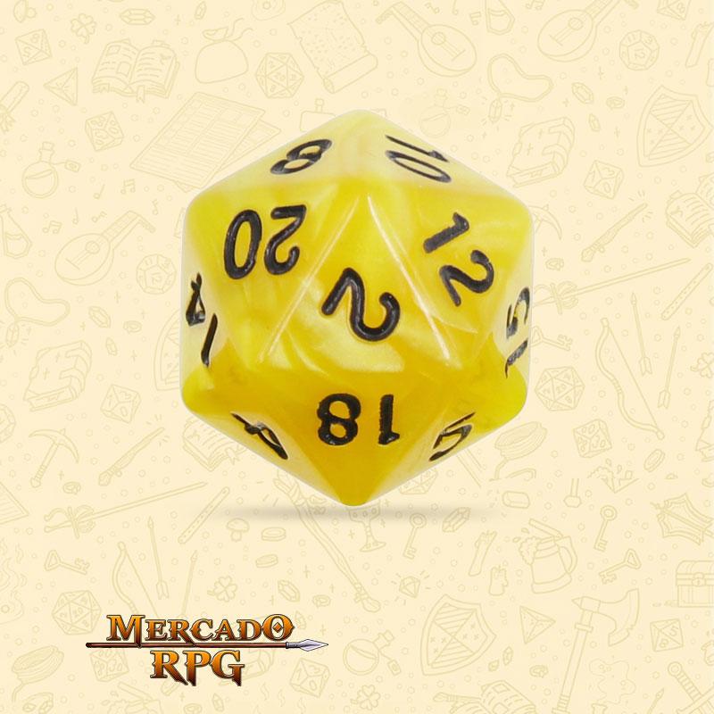 Dado de RPG - D20  Yellow Pearl Dice Black Font - Vinte Lados - Mercado RPG