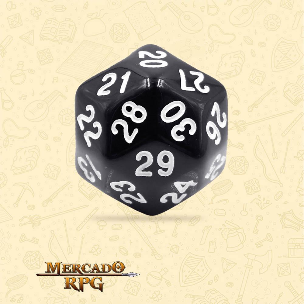 Dado de RPG - D30 Black Opaque Dice - Trinta Lados - Mercado RPG