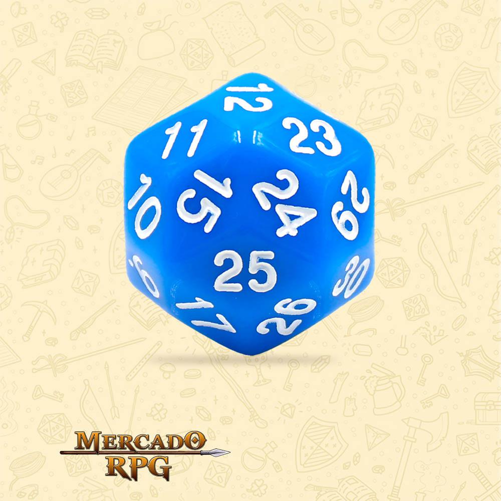 Dado de RPG - D30 Blue Opaque Dice - Trinta Lados - Mercado RPG