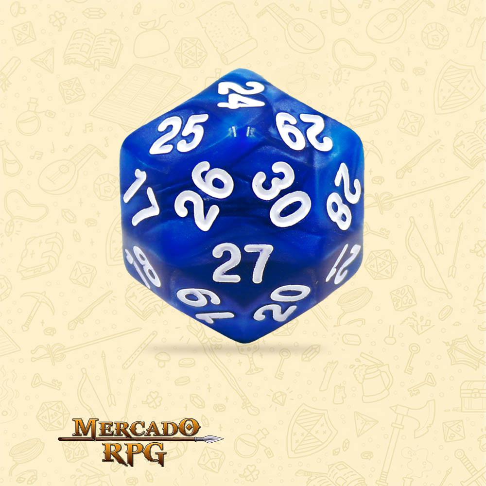 Dado de RPG - D30 Blue Pearl Dice - Trinta Lados - Mercado RPG