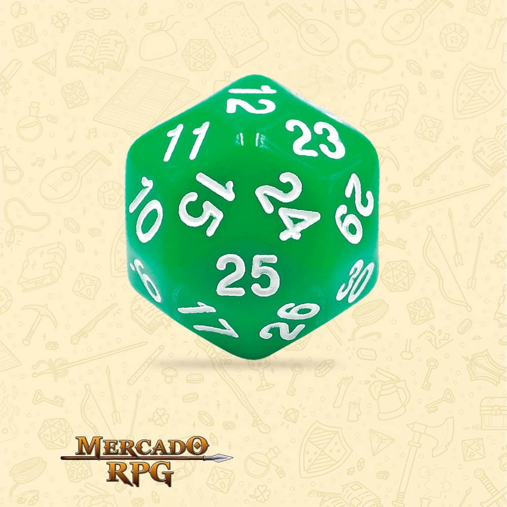 Dado de RPG - D30 Green Opaque Dice - Trinta Lados - Mercado RPG
