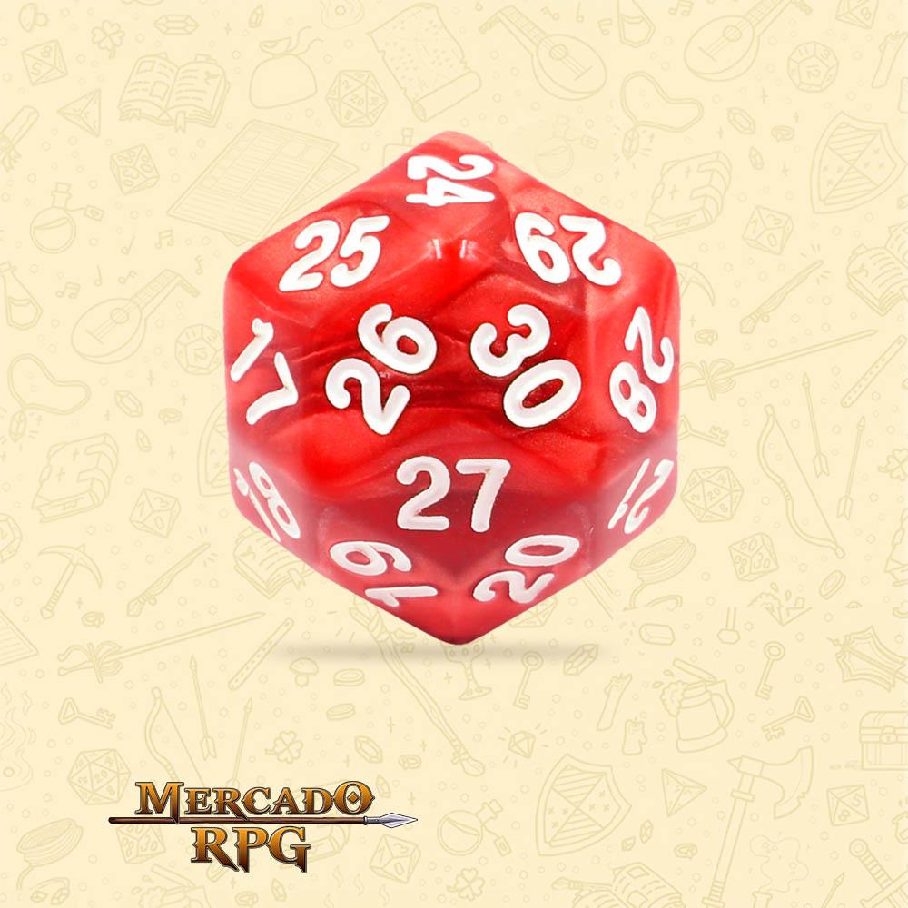 Dado de RPG - D30 Red Pearl Dice - Trinta Lados - Mercado RPG