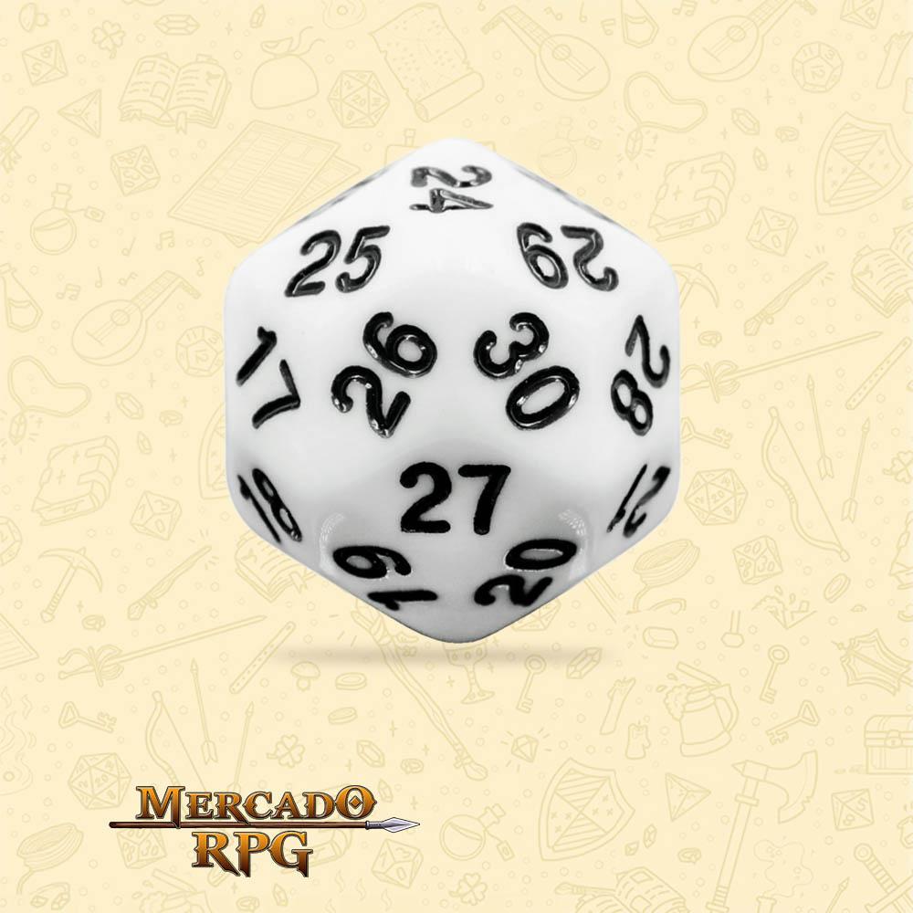 Dado de RPG - D30 White Opaque Dice - Trinta Lados - Mercado RPG