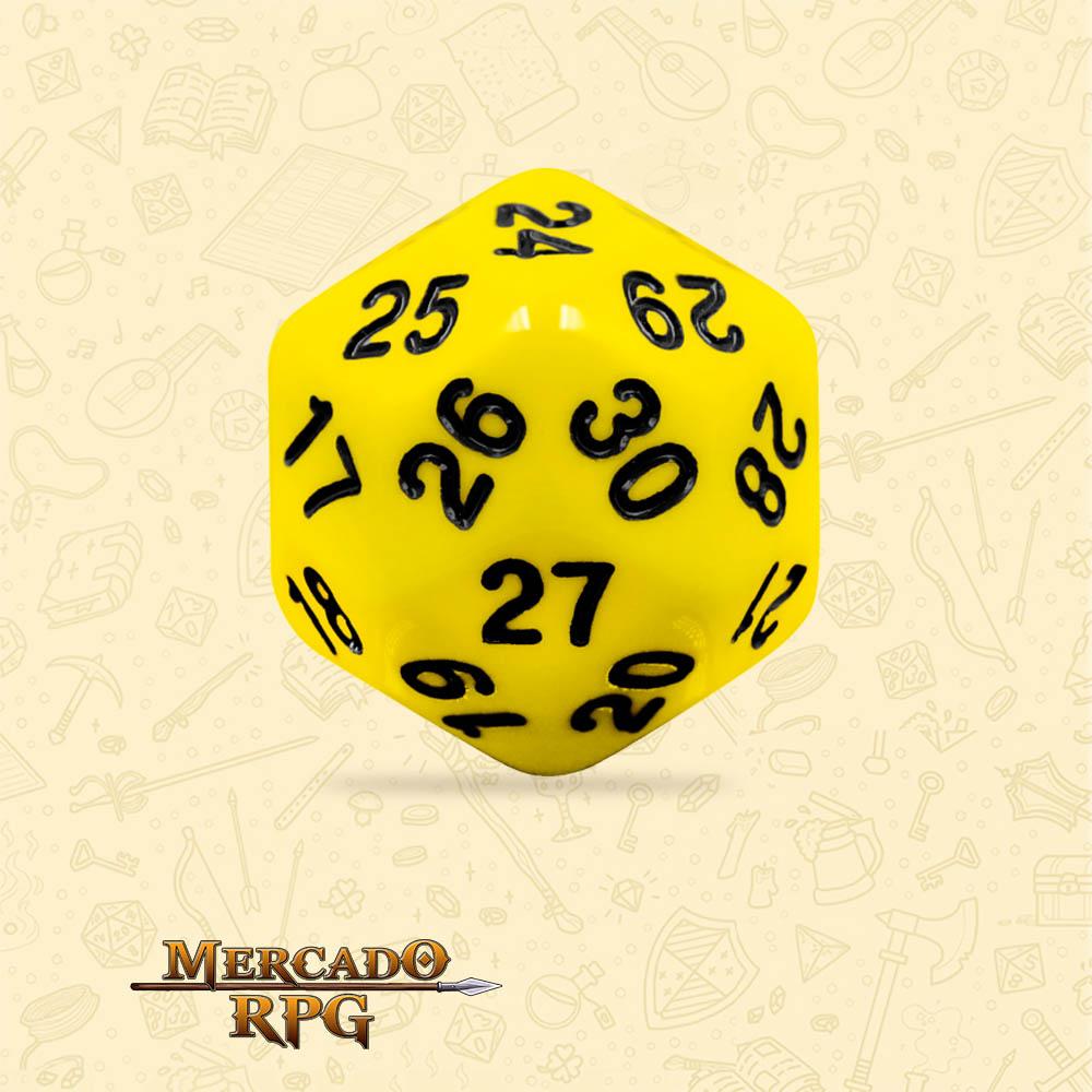 Dado de RPG - D30 Yellow Opaque Dice Black Font - Trinta Lados - Mercado RPG