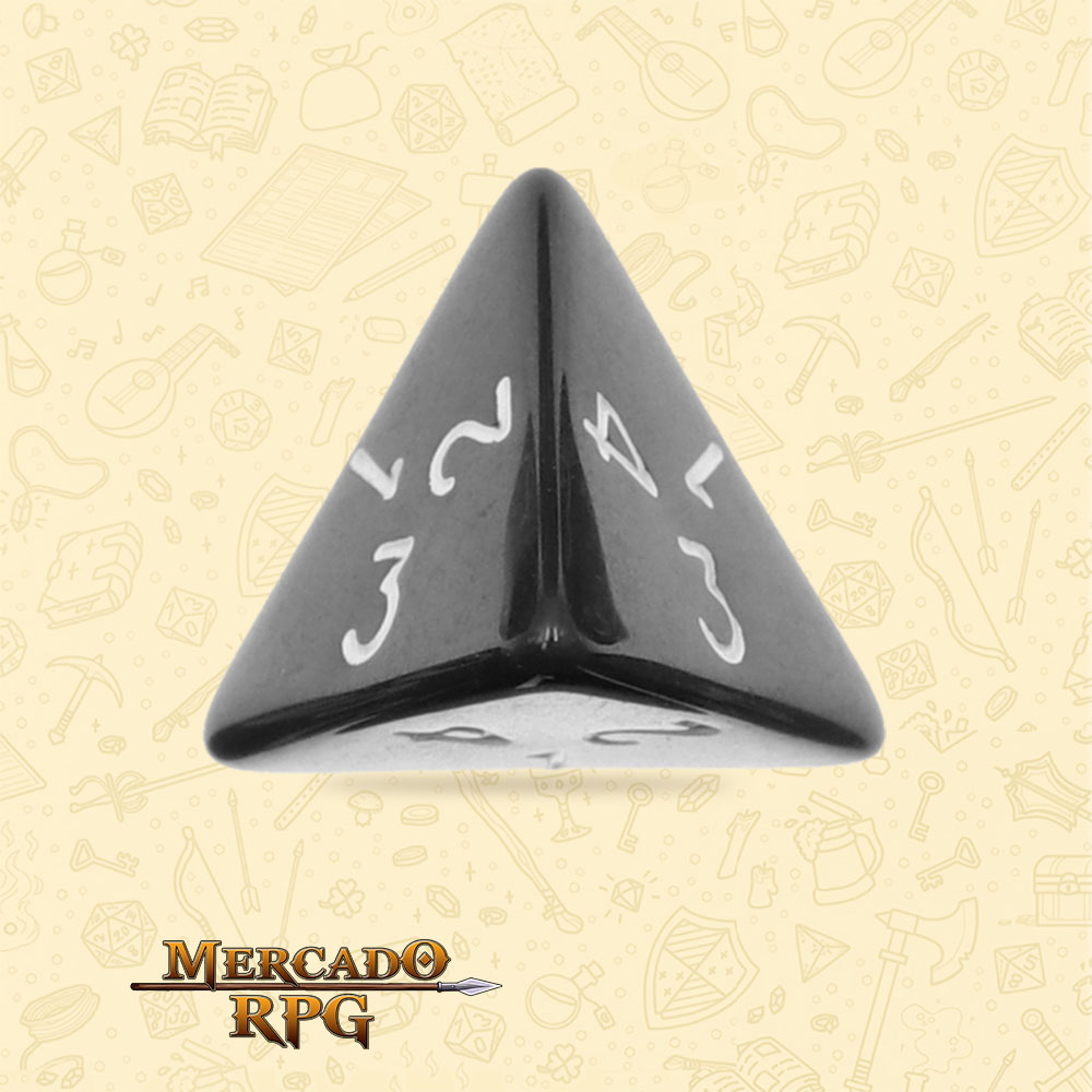 Dado de RPG - D4 Black Opaque Dice - Quatro Lados - Mercado RPG