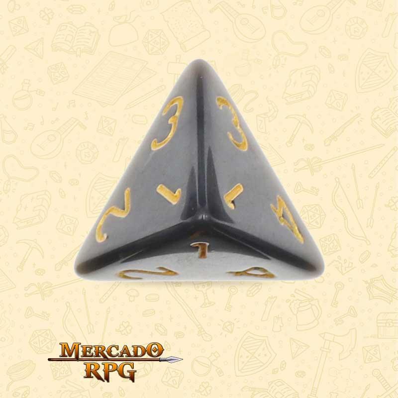 Dado de RPG - D4 Black Pearl Dice Golden Font - Quatro Lados - Mercado RPG