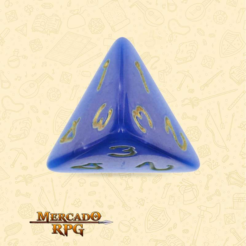 Dado de RPG - D4 Blue Pearl Dice Golden Font - Quatro Lados - Mercado RPG