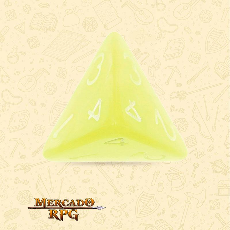 Dado de RPG - D4  Bright Yellow Pearl Dice - Quatro Lados - Mercado RPG