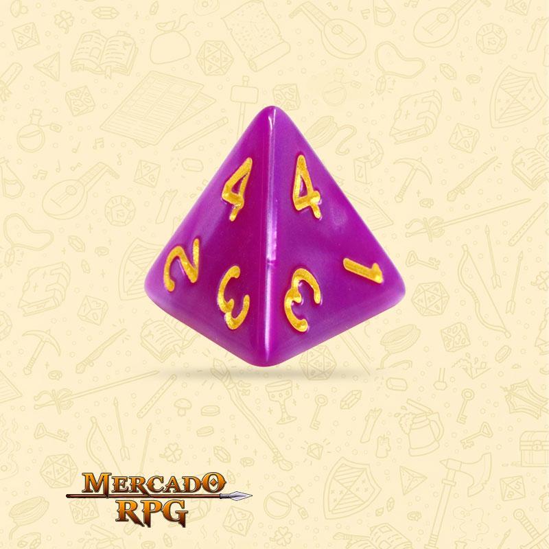 Dado de RPG - D4 Dark Purple Pearl Dice - Quatro Lados - Mercado RPG