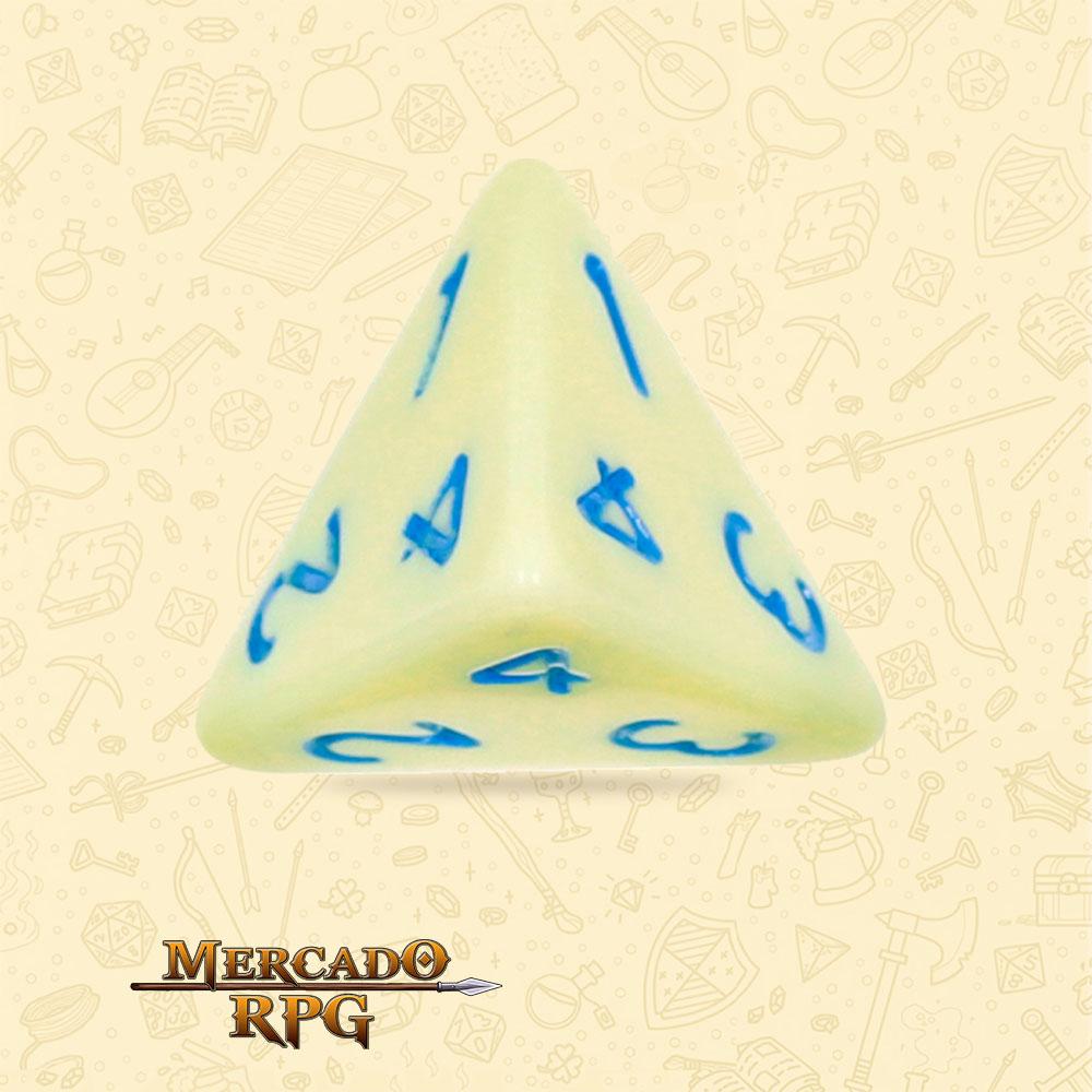 Dado de RPG - D4 Eggshell Robin Opaque Dice Blue Font - Quatro Lados - Mercado RPG
