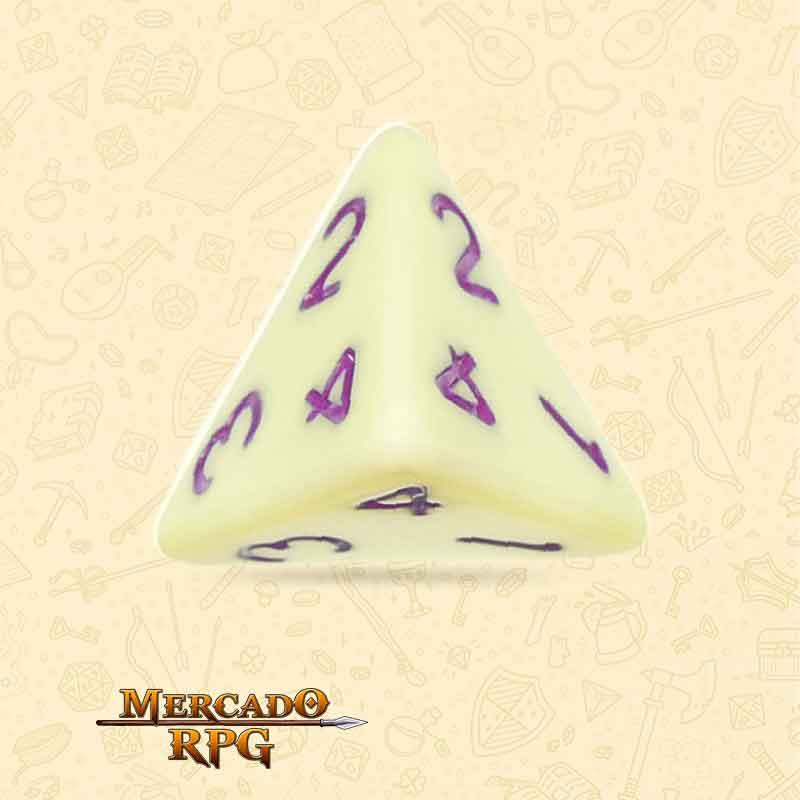Dado de RPG - D4  Eggshell Rose Opaque Dice Purple Font - Quatro Lados - Mercado RPG