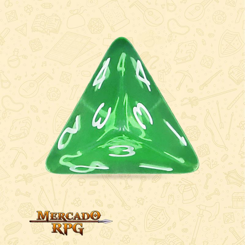 Dado de RPG - D4 Esmerald Gems Transparent Dice - Quatro Lados - Mercado RPG