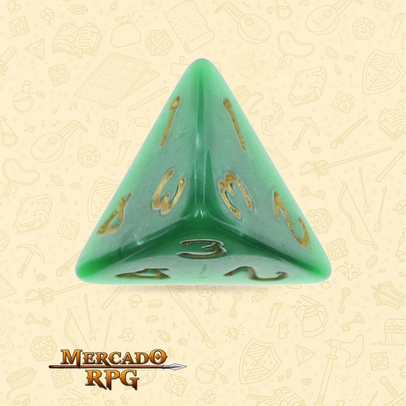 Dado de RPG - D4 Green Pearl Dice Golden Font - Quatro Lados - Mercado RPG
