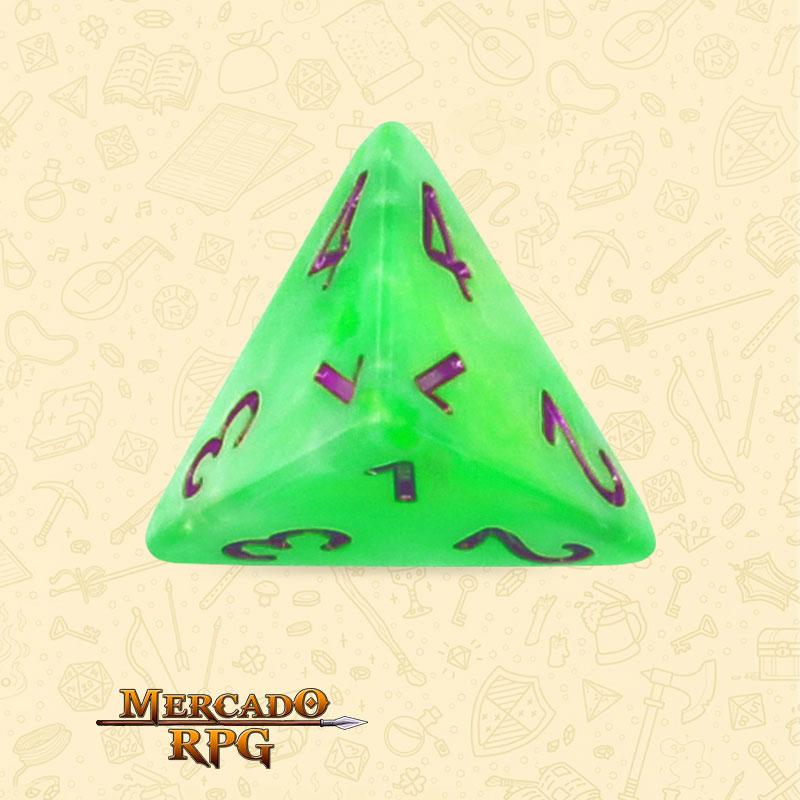 Dado de RPG - D4 Green Pearl Dice Purple Font - Quatro Lados - Mercado RPG