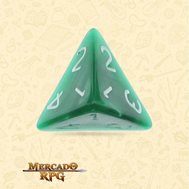 Dado de RPG - D4 Green Pearl Dice - Quatro Lados - Mercado RPG