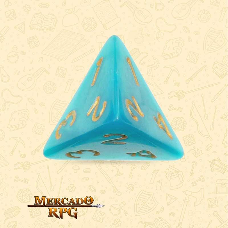 Dado de RPG - D4 Lake Blue Pearl Dice Golden Font - Quatro Lados - Mercado RPG