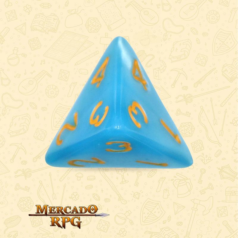 Dado de RPG - D4 Light Blue Dice Yellow Font - Quatro Lados - Mercado RPG