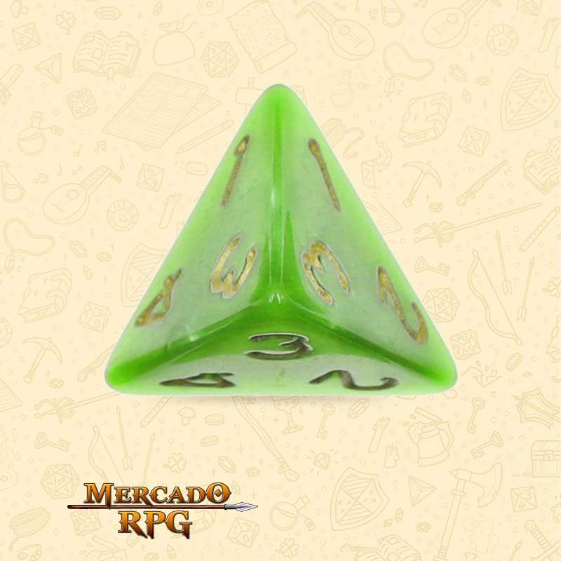 Dado de RPG - D4 Light Green Pearl Dice Golden Font - Quatro Lados - Mercado RPG