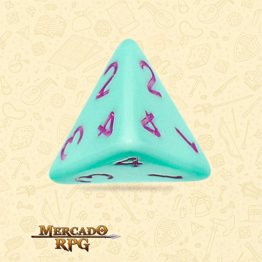 Dado de RPG - D4 Mint Rose Opaque Dice Purple Font - Quatro Lados - Mercado RPG