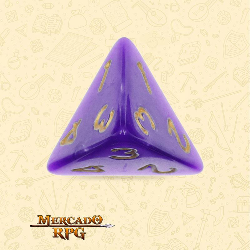 Dado de RPG - D4 Purple Pearl Dice Golden Font - Quatro Lados - Mercado RPG