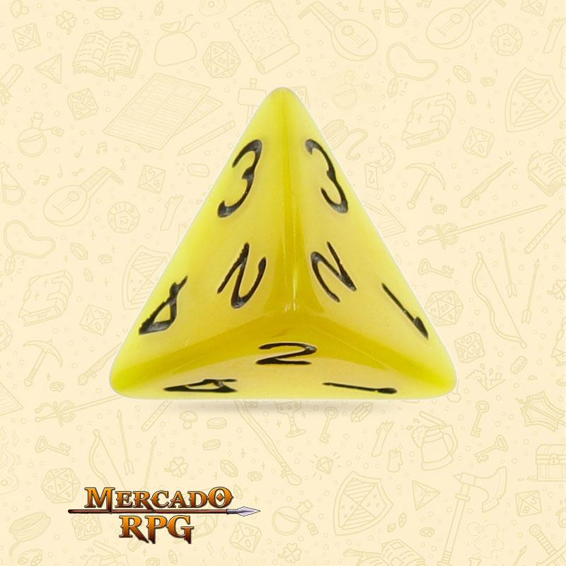 Dado de RPG - D4  Yellow Pearl Dice Black Font - Quatro Lados - Mercado RPG