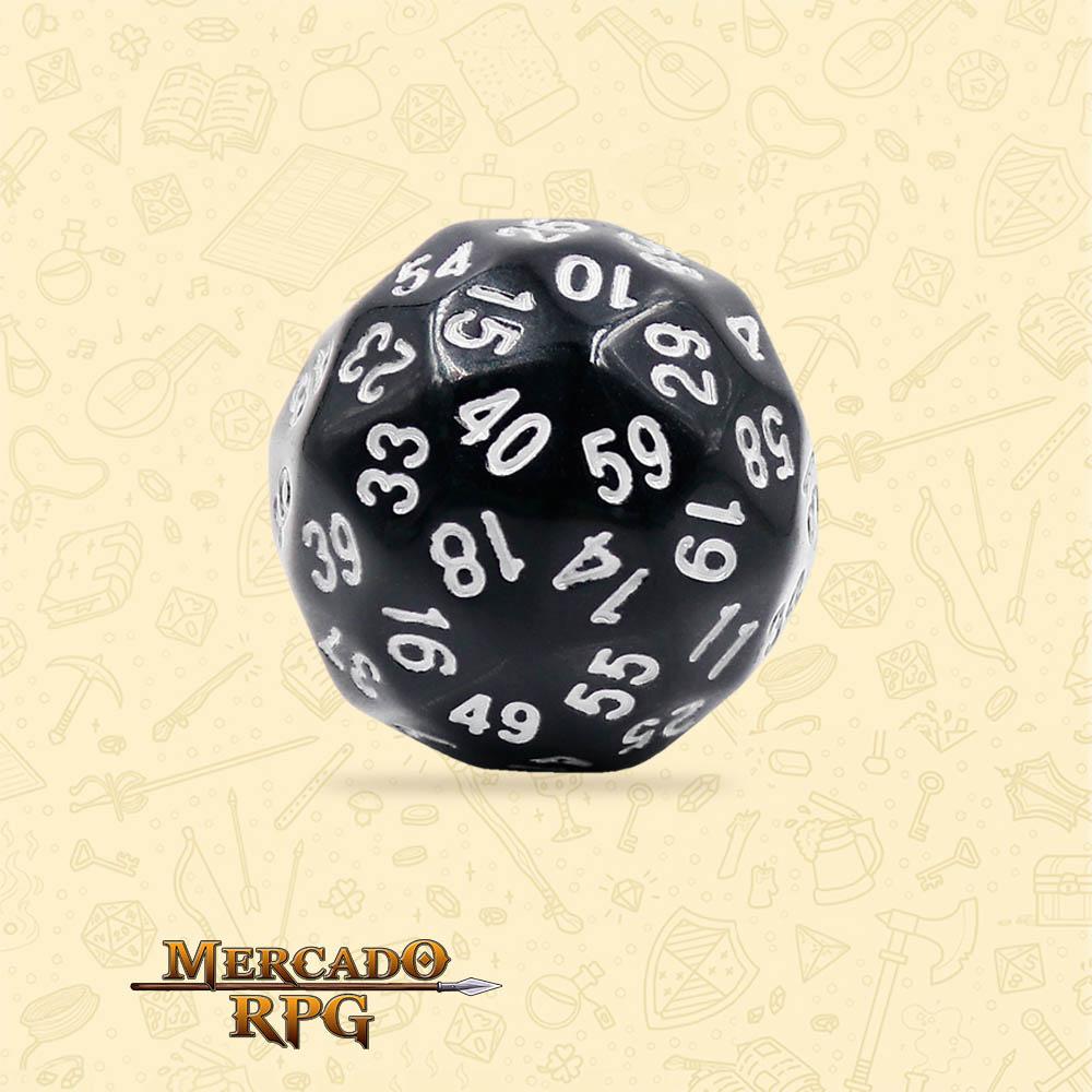 Dado de RPG - D60 Black Opaque Dice - Sessenta Lados - Mercado RPG