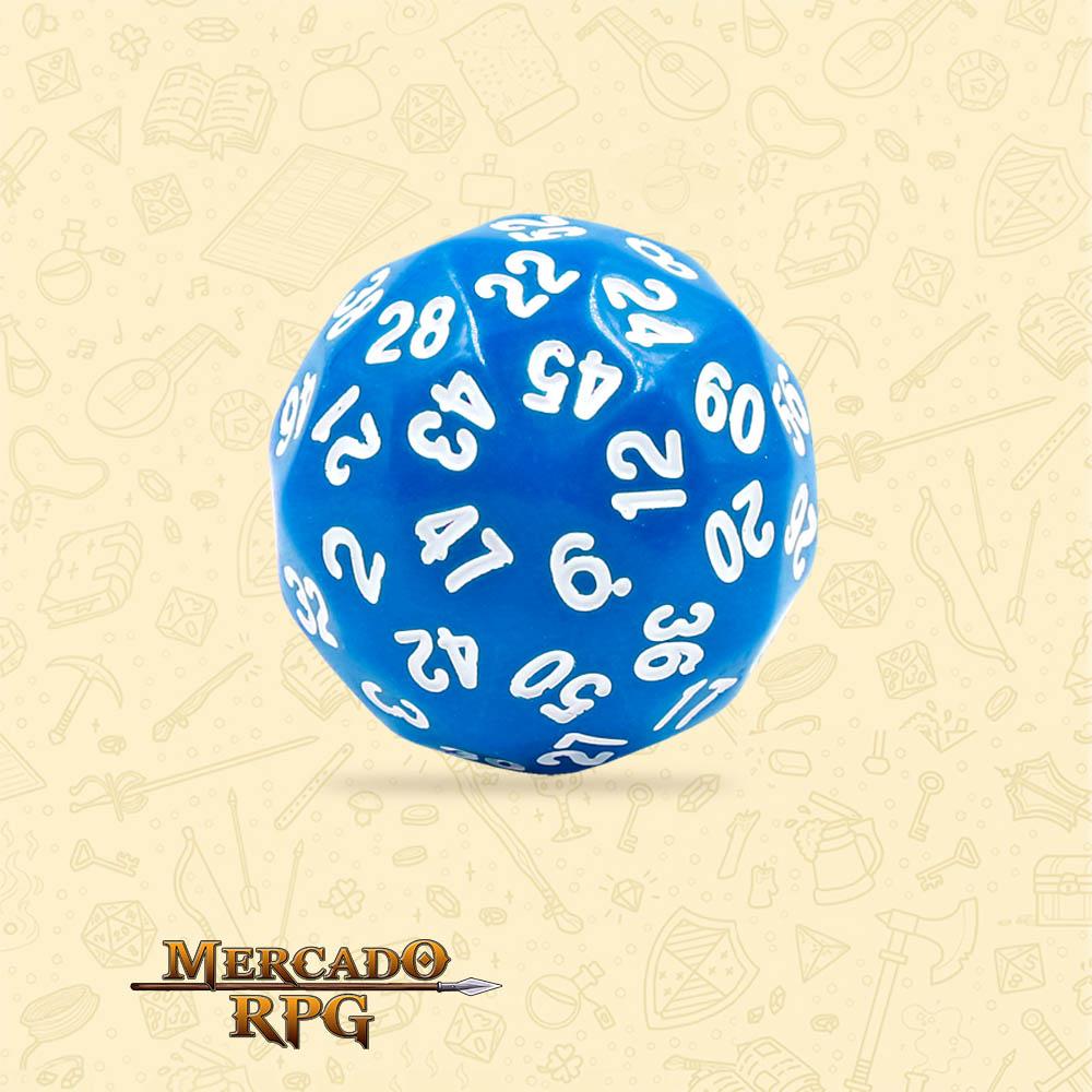 Dado de RPG - D60 Blue Opaque Dice - Sessenta Lados - Mercado RPG