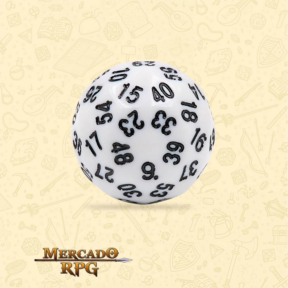 Dado de RPG - D60 White Opaque Dice Black Font - Sessenta Lados - Mercado RPG