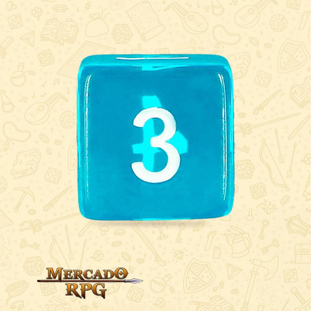 Dado de RPG - D6 Azure Gems Transparent Dice - Seis Lados - Mercado RPG