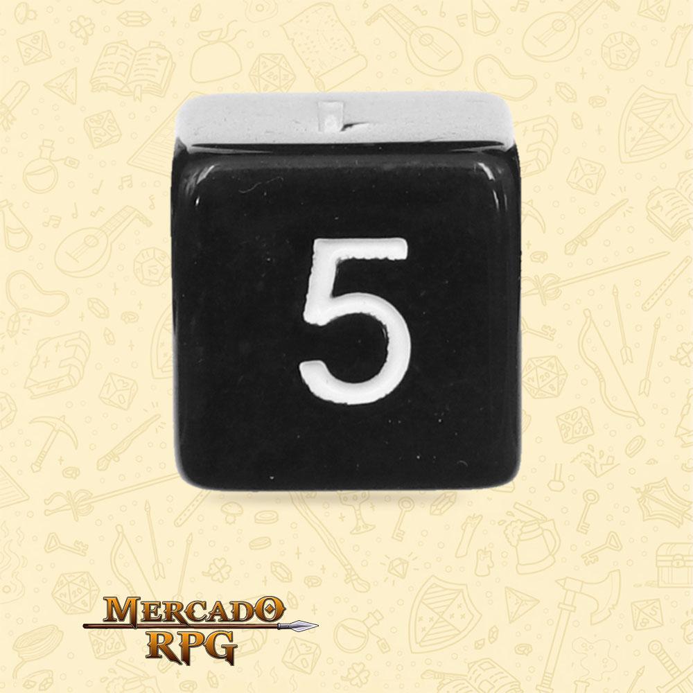 Dado de RPG - D6 Black Opaque Dice - Seis Lados - Mercado RPG