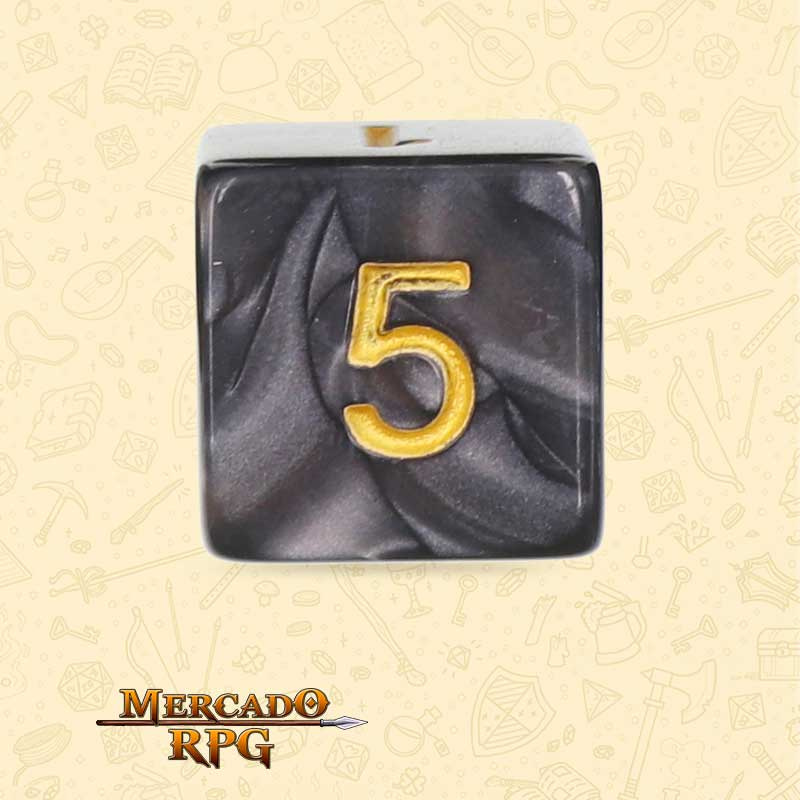 Dado de RPG - D6 Black Pearl Dice Golden Font - Seis Lados - Mercado RPG