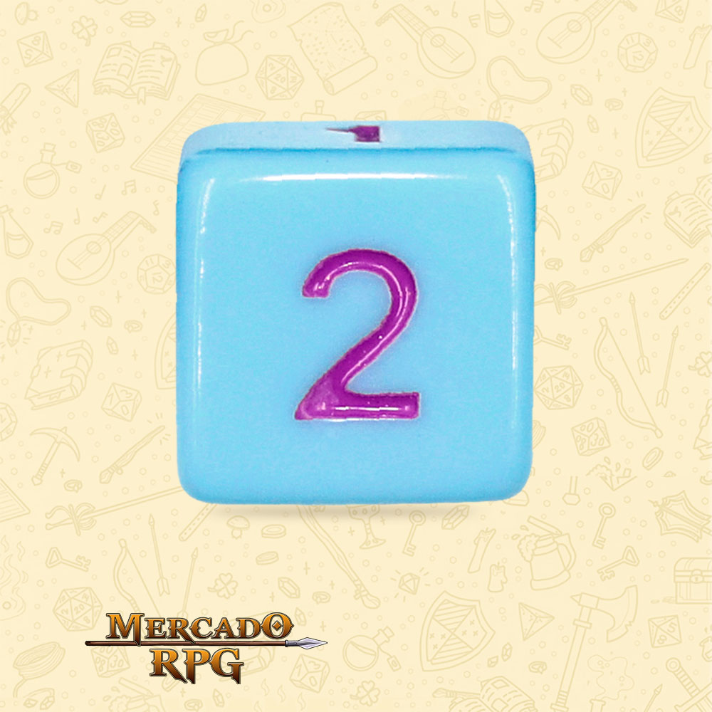 Dado de RPG - D6 Blue Jay Opaque Dice Purple Font - Seis Lados - Mercado RPG