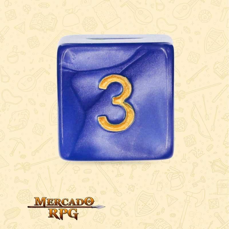 Dado de RPG - D6 Blue Pearl Dice Golden Font - Seis Lados - Mercado RPG