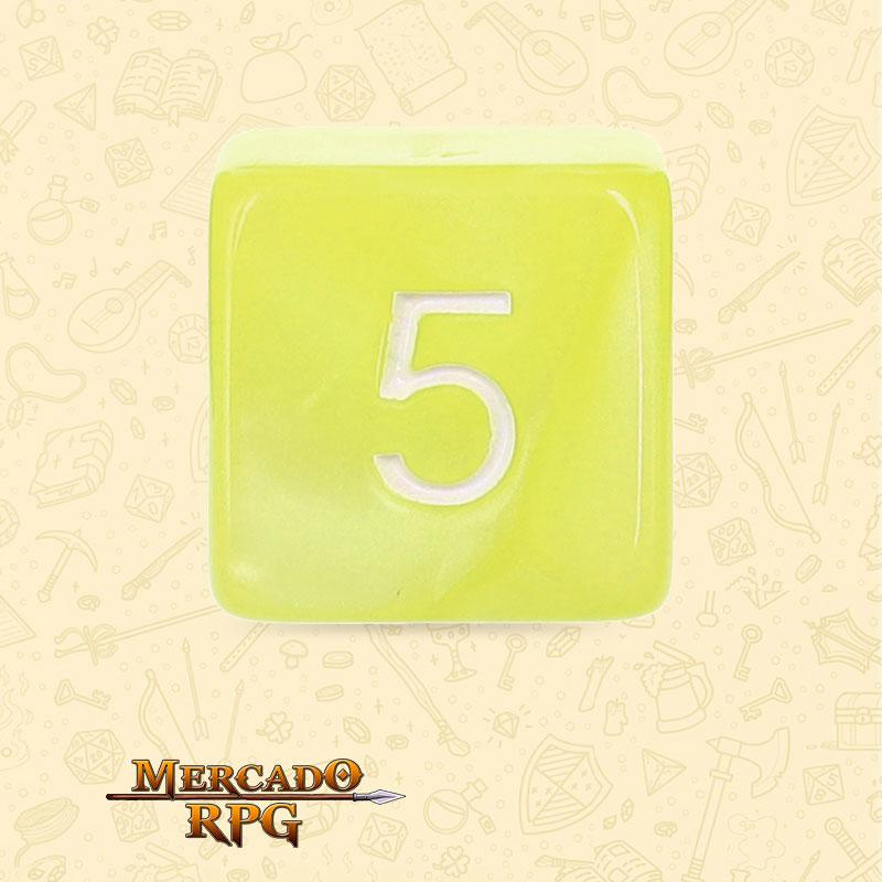 Dado de RPG - D6  Bright Yellow Pearl Dice - Sies Lados - Mercado RPG