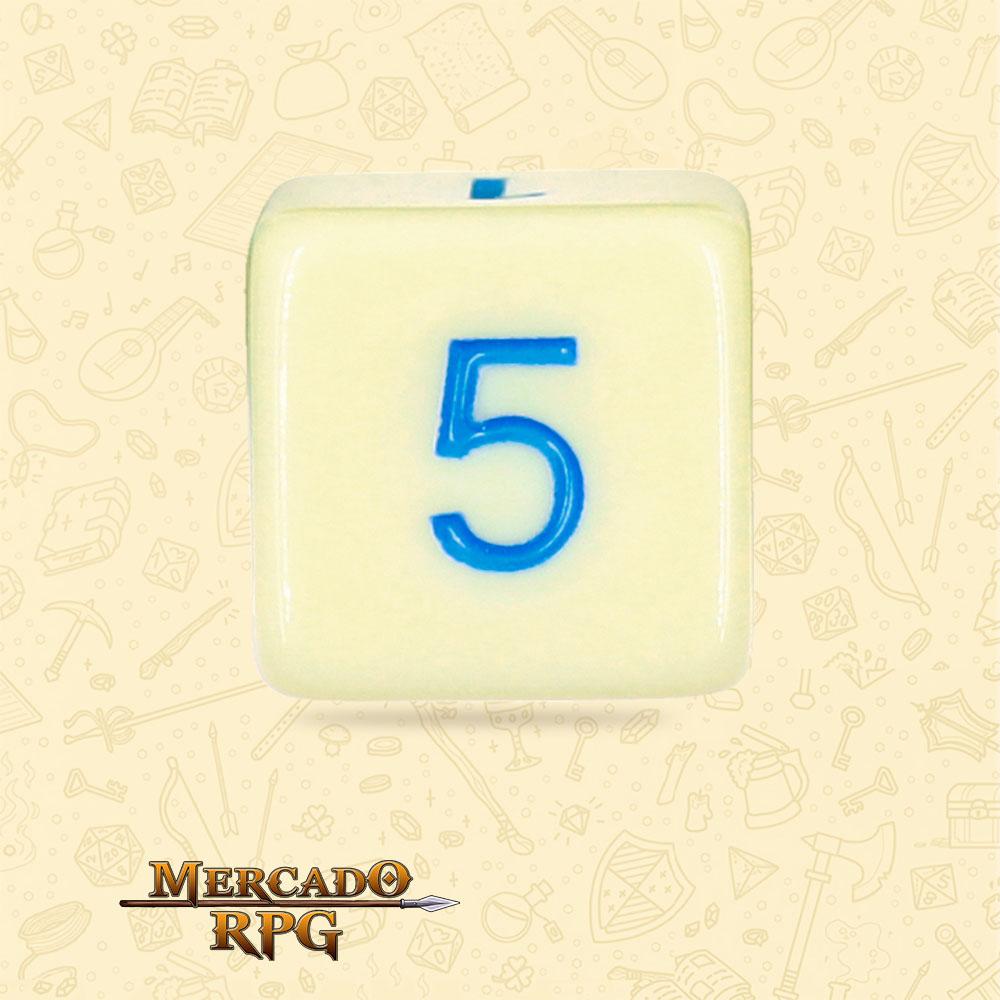 Dado de RPG - D6 Eggshell Robin Opaque Dice Blue Font - Seis Lados - Mercado RPG