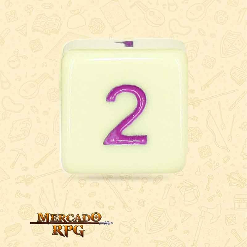 Dado de RPG - D6  Eggshell Rose Opaque Dice Purple Font - Seis Lados - Mercado RPG