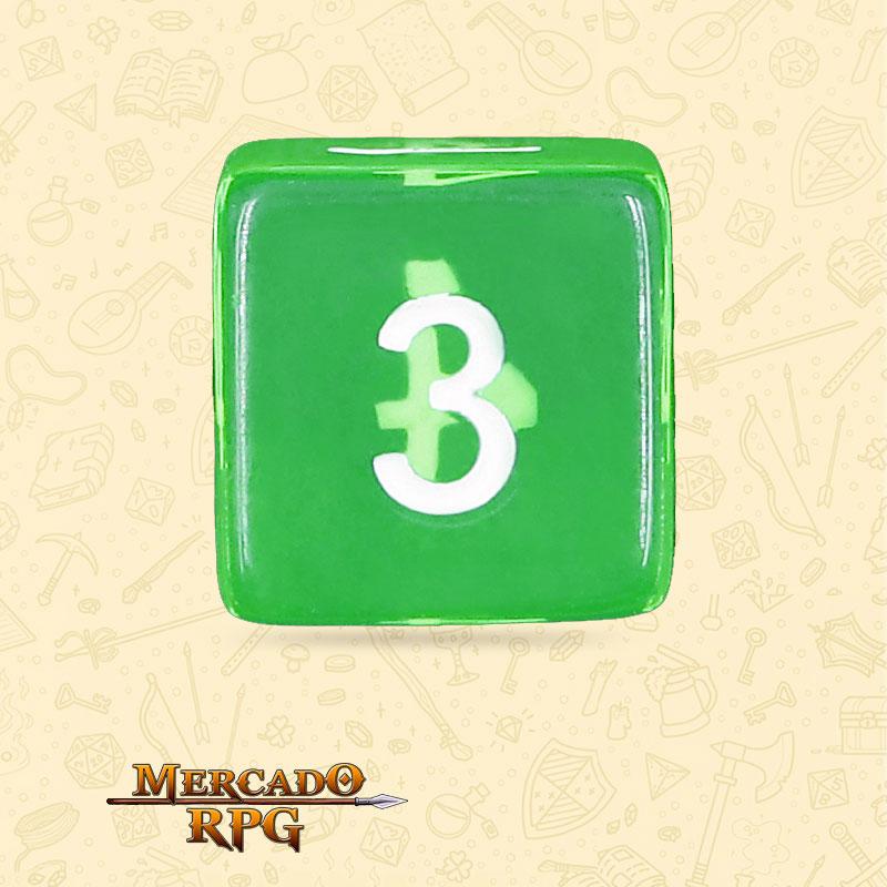 Dado de RPG - D6 Esmerald Gems Transparent Dice - Seis Lados - Mercado RPG