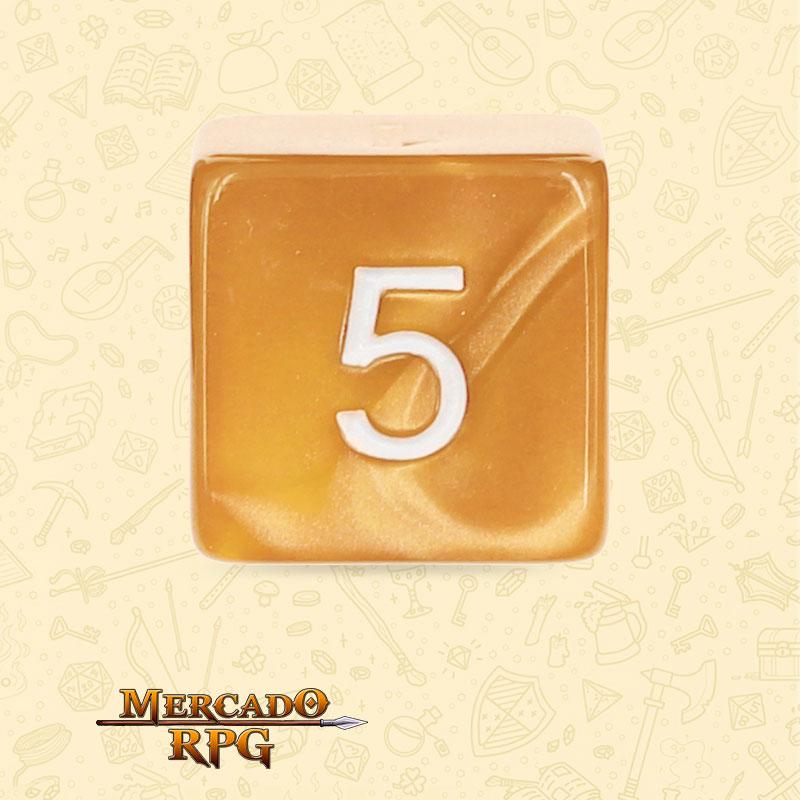 Dado de RPG - D6  Golden Pearl Dice - Sies Lados - Mercado RPG