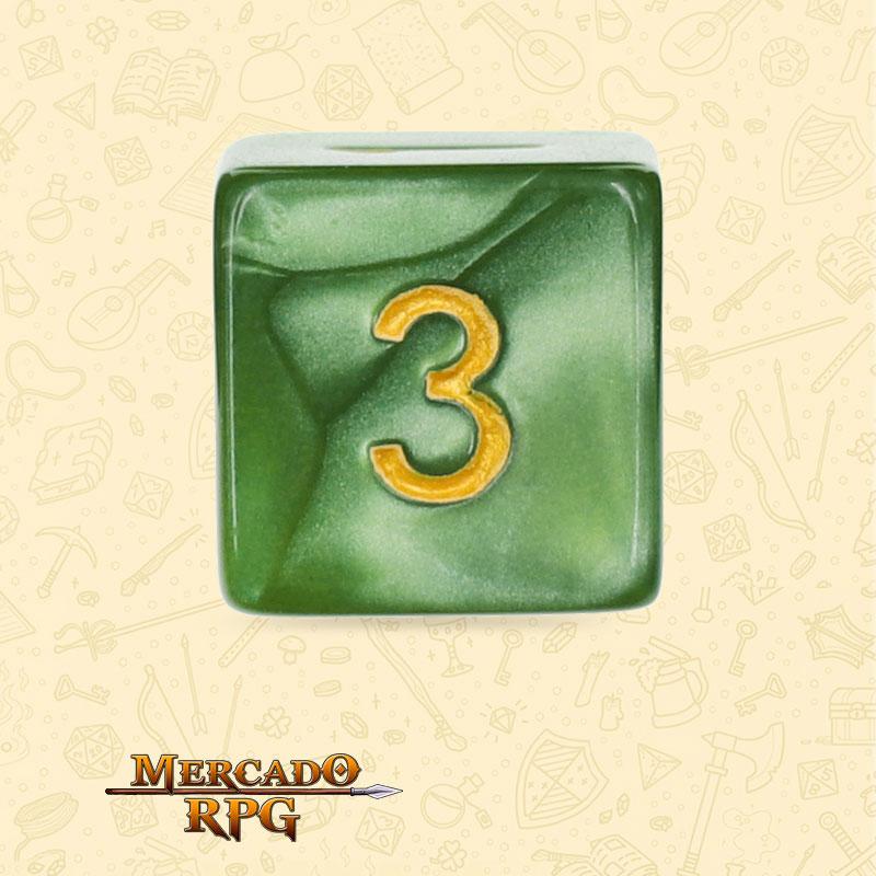 Dado de RPG - D6 Grass Green Pearl Dice Golden Font - Seis Lados - Mercado RPG